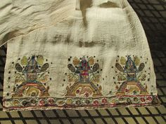 Antique Turkish Towel Embroidered Temples Shrines Metallic Silk Embroidery Linen