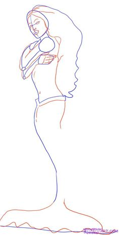How To Draw A Mermaid Step By Step   How To Draw A Beautiful Mermaid, Step by Step, Mermaids, Mythical ...