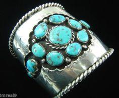 Vintage Navajo Old Dead Pawn 132G Heavy Sterling Silver Turquoise Cuff Bracelet | eBay