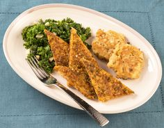Jerk tempeh with banana fritters and coconut kale ~Green Chef