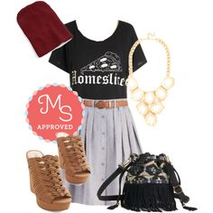 Probably a no go on the t shirt. But I love the skirt and wedges.