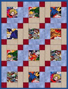 "Super Hero's n Villains 12 Pre-Cut Quilt Kit 10"" Blocks"