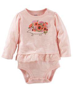 Baby Girl Ruffle-Hem Bodysuit | OshKosh.com