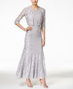Alex Evenings Sequin Lace Mermaid Gown and Jacket