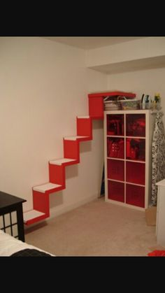 Stairway to cat heaven from IKEA Hackers. Uses two sets of LACK wall shelves and a LACK side table, minus the legs. Ikea Hackers, Ikea Lack Shelves, Wall Shelves, Book Shelves, Prateleiras Lack Ikea, Diy Projects Ikea, Ikea Cat, Cat Stairs, Cat Heaven