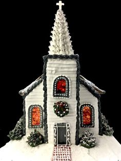 The Old Country Church Gingerbread House By Joanne Nichols - Dario Gingerbread House Candy, Gingerbread House Designs, Gingerbread Decorations, Christmas Hanukkah, Christmas Treats, Christmas Baking, Christmas Holidays, Christmas Time Is Here, Christmas Love