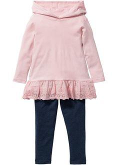Longshirt+legging (2-dlg. set), bpc bonprix collection, zacht roze/blauw…
