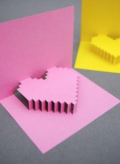 pixel heart pop up card Easy Diy Valentine's Day Cards, Valentine's Day Diy, Diy Cards, Kirigami, Heart Pop Up Card, Heart Cards, Valentine Crafts For Kids, Valentines Diy, Saint Valentin Diy