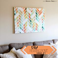 DIY Herringbone Art - Look what you can do with a canvas, paint, and tape! Beautiful!