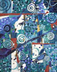 Rhonda Heisler Mosaic Art - Blue abstract