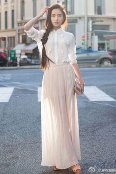 On my wish list: A sheer pleated maxi skirt!