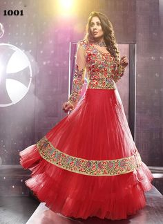 Sangeeta Ghosh In Red Net Long Anarkali Suit  BOTTOM FABRIC: Santoon DUPATTA FABRIC: Nazneen INNER FABRIC: Santoon STYLE: Anarkali Suit FABRIC: Net, Georgette WORK: Embroidered COLOUR: Red OCCASION: Party, Festival, Reception