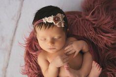 Haarband Mädchen Spitze BLUME SHABBY BLÜTE Schmuckstein Stirnband Baby Taufe 1