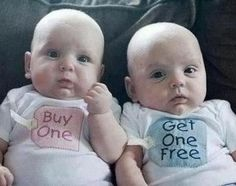"Twins babys idea - notice the boy blue one is the ""freebie"" : )"