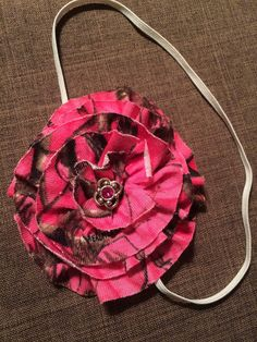 Hot pink Real Tree elastic infant headband by Sparklepretty1 on Etsy