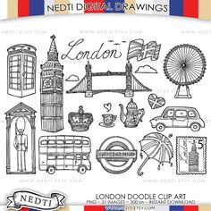 London Doodle Clip Art England Clipart PNG Instant by Nedti