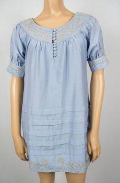 JAMES COVIELLO For Anna Sui New Tunic Mini Dress 2 XS Blue Tan Silk Cotton Pleat