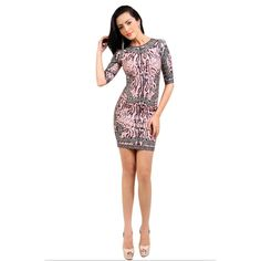 NEONICE Coffee Printed Half-Sleeve Round-neck Bandage Dress HL518C