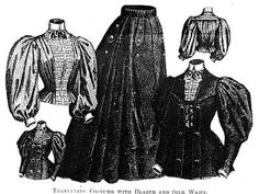 Travelling costume with waist, jacket, and skirt, Harper's Bazaar- 1895, from http://realhistoricalpatterns.tumblr.com/tagged/1890s/page/7