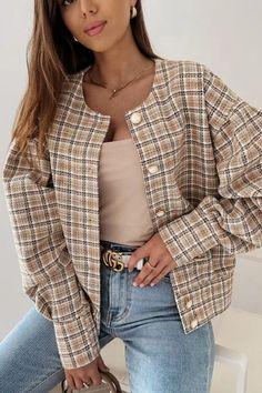 Fall Jackets, Outerwear Jackets, Ripped Shorts, Denim Romper, Plaid Jacket, Jacket Buttons, Coats For Women, Mantel, Long Sleeve