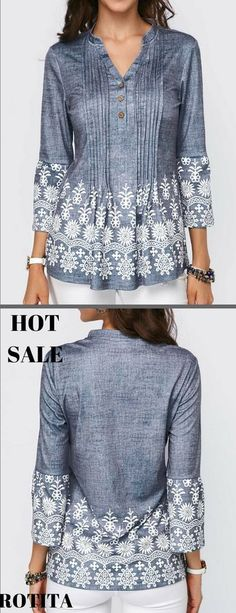 Split Neck Button Detail Printed Pleated Blouse !Huge selection with new styles added every day.#rotita