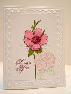 Fab Florets- embossed with Tulip Frame. Florets stamped in Old Olive, Celery for small leaves, white embossed on Pretty in Pink for small flower, Razzleberry stamped larger flower colored in markers. Sentiment is from Blooming With Kindness.