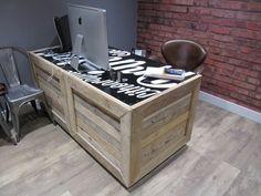 home office furniture ideas DIY pallet furniture pallet desk leather chair