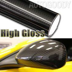 5D Black Premium High Gloss Carbon Fiber Vinyl Wrap Air Release Bubble Free UI