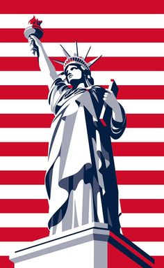 Malika Favre portait illustration Statue of Liberty 2016 Summer Olympics advertising image for Budweiser Beer Comics Illustration, Travel Illustration, Graphic Design Illustration, Digital Illustration, Graphic Art, Poster Retro, Gig Poster, Vintage Posters, Arte Pop