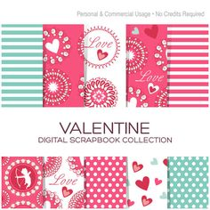 Valentine's Digital Paper Collection for Personal & Commercial Usage - CV00001 #Pink #Wedding #PinkWedding #Paper