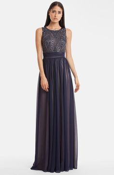 Free shipping and returns on JS Collections Beaded Bodice Chiffon Gown at Nordstrom.com. Art Deco-inspired beadwork shimmers on the fitted bodice of a sweeping gown heightened by diaphanous layers of chiffon cascading from a ruched waistband.