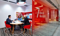 banking office santander_branch_design_in - banking Corporate Office Design, Workplace Design, Bank Interior Design, Banks Office, Office Fit Out, Environmental Design, Showcase Design, Commercial Interiors, Commercial Design