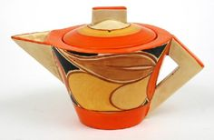 Clarice Cliff Conical shape teapot in ????? pattern, with open triangular handle, c. 193????, handpainted enamel on glaze, ceramic, UK