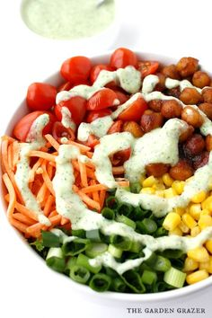 Flavor explosion salad! A colorful chopped salad tossed with creamy avocado ranch, then topped with chickpeas simmered in BBQ sauce (vegan, gluten-free)