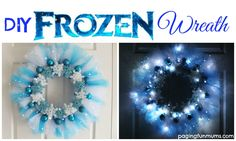 Make your own Frozen Wreath - Elsa would be so proud - a beautiful DIY wreath that you can make for Christmas, Birthday Parties or just because! Christmas Wreaths To Make, How To Make Wreaths, Christmas Decorations, Winter Wreaths, Frozen Christmas, Noel Christmas, Christmas Birthday, Tulle Wreath, Diy Wreath