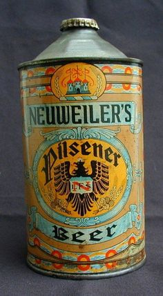 This auction is for a Neuweiler's Pilsner Beer Quart Cone top Beer Can. This was brewed and packaged by Louis F. Neuweiler's Sons of Allentown, PA. Design... REG. U.s. pat. 1947 l.f.n.s.