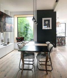 Contemporary open-plan living designed by Em Gurner of Folds Inside