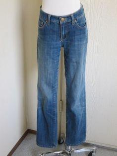 Seven 7 size 4 straight blue denim stretch low rise jeans