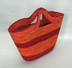 Large Fabric Wrapped Clothesline Tote - Red, Orange, Yellow by KelleyInVermont on Etsy https://www.etsy.com/listing/210897812/large-fabric-wrapped-clothesline-tote