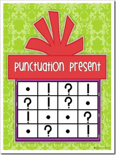 Punctuation Bingo - Read A Sentence and Have Students Place A Mark On The Correct Punctuation For The Sentence! Punctuation Activities, Teaching Punctuation, Teaching Writing, Student Teaching, Literacy Activities, Writing Practice, First Grade Parade, Education And Literacy, Christmas Activities For Kids