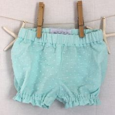 Turquoise Swiss Dot Bloomers, Handmade by Fun Little Things