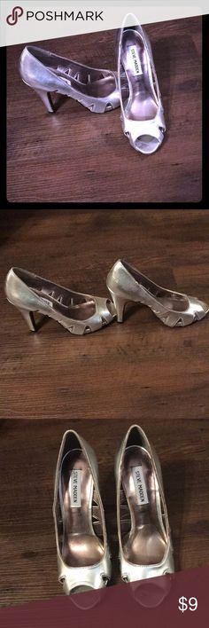 Silver Steve Madden heels These have definitely been worn and have several imperfections. They're silver Steve Madden cut out heels. Size 7. Steve Madden Shoes Heels