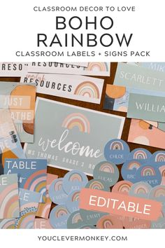 These modern rainbow labels   signs will bring a bit color to your classroom without overwhelming your space! The neutral rainbows in soothing greens, soft blue, earthy oranges plus print friendly white, will help calm your classroom. Easy to edit, choose your label or sign, use our fonts or add your own then print! Label desks, trays, tubs, lockers, teacher and office supplies... the choices are limitless! Ready to print clock labels, table numbers, reading group signs, number lines and… Classroom Labels, Classroom Displays, Classroom Themes, Clock Labels, Number Lines, Behaviour Management, Reading Groups, Project Based Learning, Table Numbers