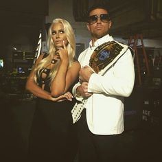 Maryse and WWE Intercontinental Champion The Miz.