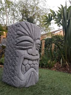 Details About Hand Carved Concrete Tiki Head Garden Statue