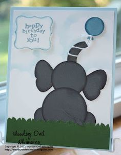 Punch art Elephant card, very nice,  note string on the balloon. Love the creative use of punches.