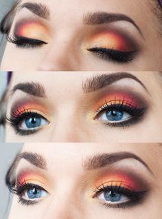 Sunset eye shadow look - gorgeous eye makeup - can also be recreated with Younique looks