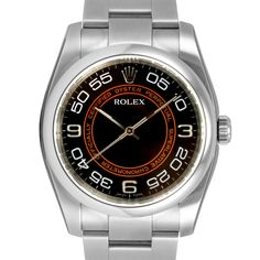 Men's Rolex Oyster Perpetual Stainless Steel Black Orange Arabic Dial Smooth Bezel Oyster Band 2008 Card