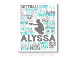 This art print would look great in any softball players room. Makes a great gift to commemorate a good season, a senior year or as a graduation gift.  Sports Team Discounts are available. Please send me a note!  Check out my other softball poses and art:  https://www.etsy.com/shop/twenty3stars?ref=hdr_shop_menu&search_query=softball  The colors above are just an example. I can do any colors or patterns you want! Just let me know if your notes to seller at checkout.  :::★ To Order ★…