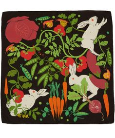 Karen Mabon Black Rabbits in the Allotment Silk Twill Scarf | Scarves by Karen Mabon | Liberty.co.uk